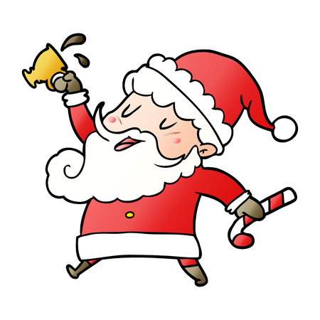 cartoon santa claus with hot cocoa Illustration
