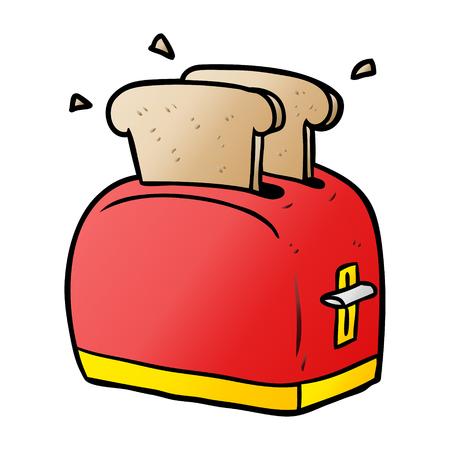 cartoon toaster toasting bread Illusztráció
