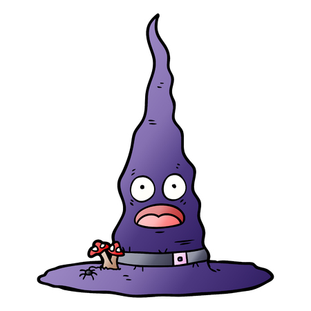 Witch hat with facial expression in cartoon illustration, in white background.