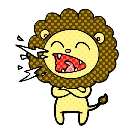 cartoon roaring lion Banque d'images - 95547101