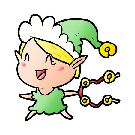 Cartoon happy Christmas elf illustration