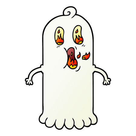 cartoon ghost with flaming eyes