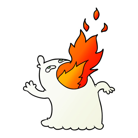 cartoon fire breathing ghost Illusztráció