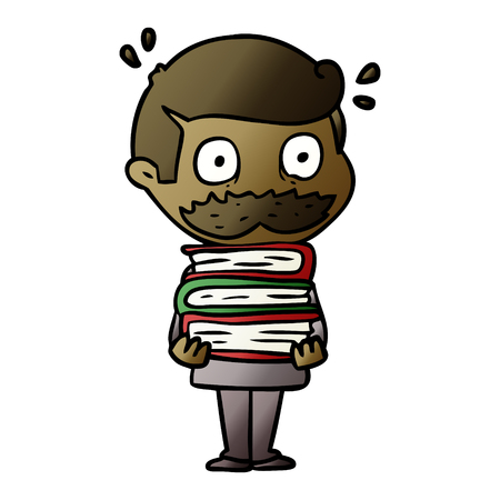 cartoon man with mustache and books