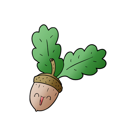 cartoon acorn illustration design. 일러스트
