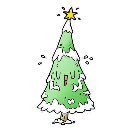 cartoon snowy christmas tree with happy face