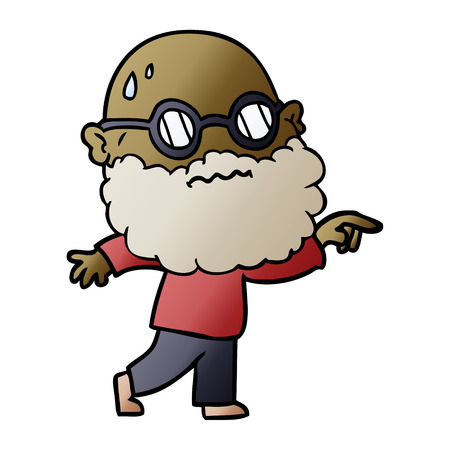 cartoon worried man with beard and spectacles pointing finger