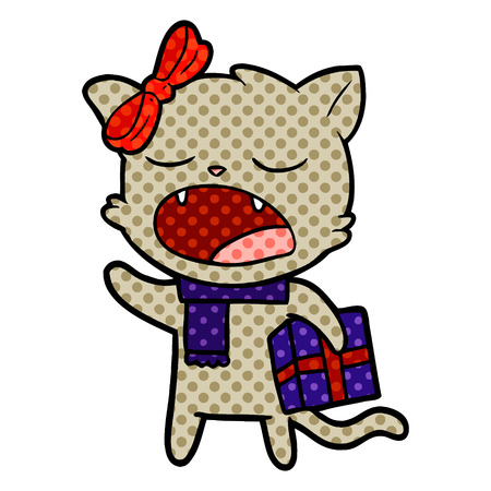 cartoon cat with christmas present Banque d'images - 95545387