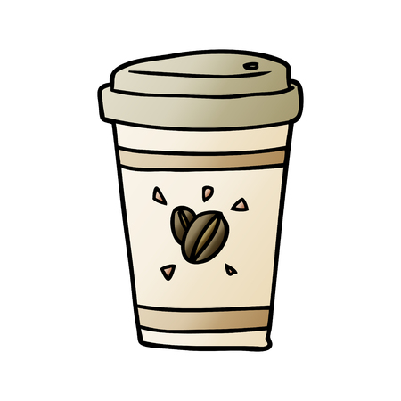 cartoon cup of takeout coffee 일러스트