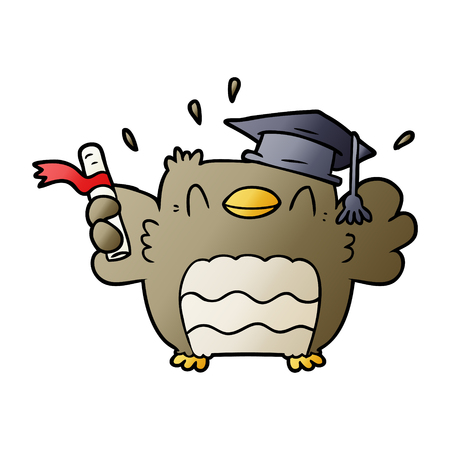 Cartoon owl with graduation hat