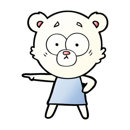 Nervous polar bear cartoon pointing somewhere