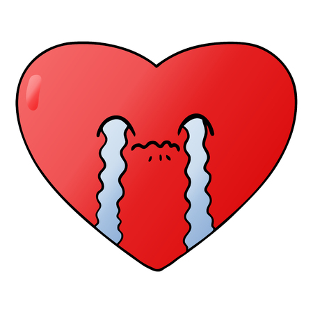 Crying heart in cartoon illustration, in white background. Çizim