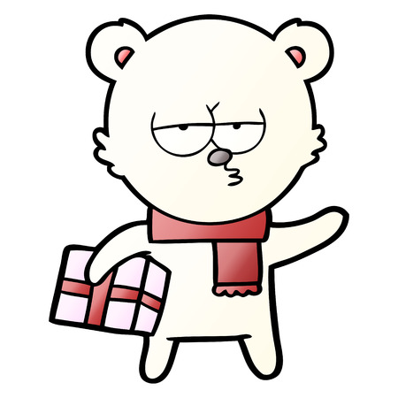 Polar bear carrying gift in cartoon illustration, in white background. Illustration