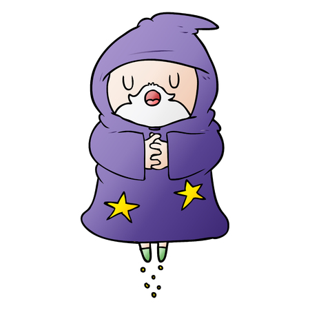 Floating wizard in cartoon illustration, in white background.