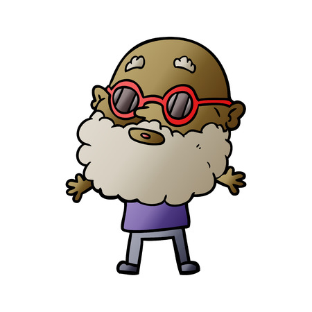 Man with beard and sunglasses  in cartoon illustration, white background. Ilustração