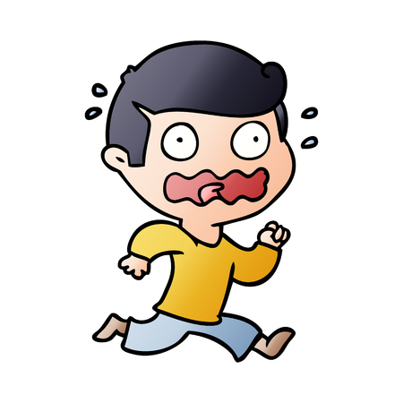 Man totally stressed out  in cartoon illustration, white background. Illustration