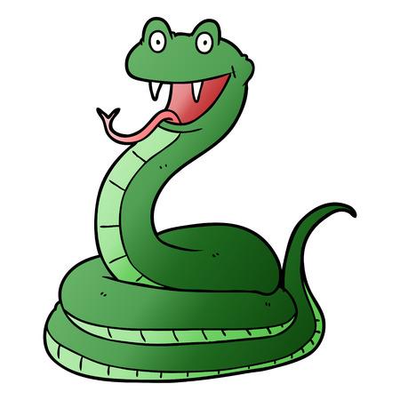 Serpent heureux en illustration de dessin animé, fond blanc.