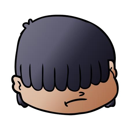 cartoon face with hair over eyes