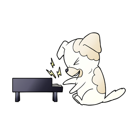 cartoon dog rocking out on piano