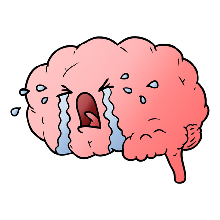 cartoon brain crying Illusztráció