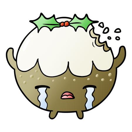 cartoon christmas pudding crying