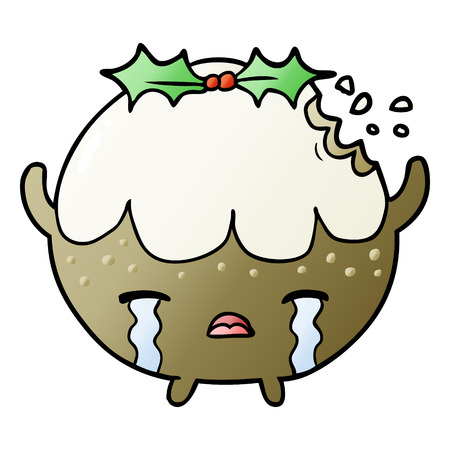 cartoon christmas pudding crying