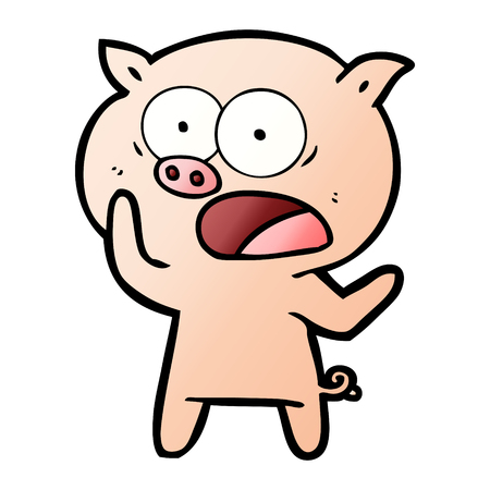 Cartoon pig shouting illustration