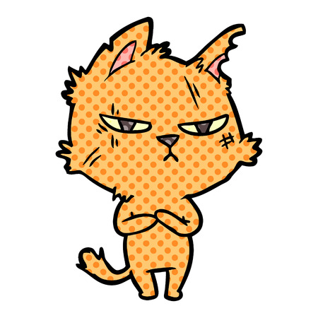 Isolated vector on white background, tough cartoon cat
