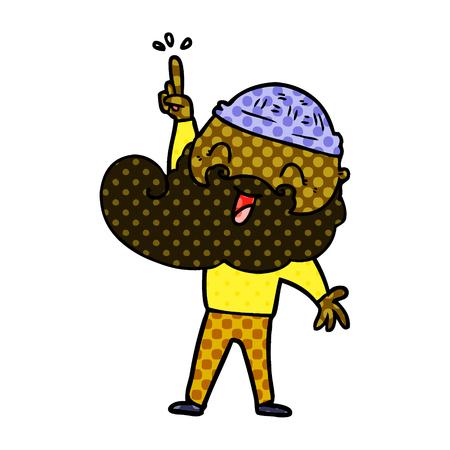 Hand drawn happy bearded man with great idea Ilustração