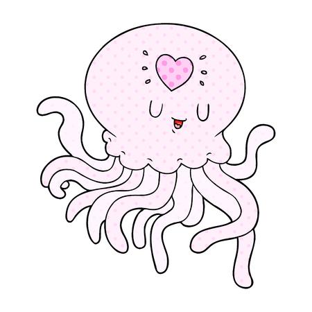Hand drawn cartoon jellyfish in love