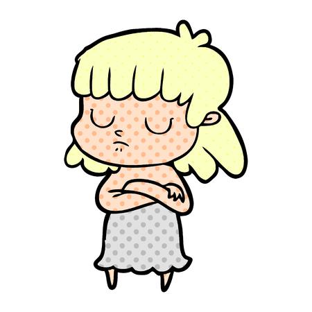 Hand drawn cartoon indifferent woman