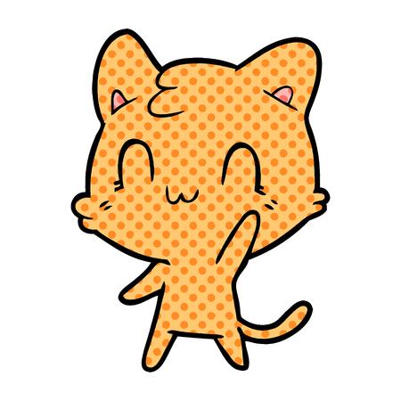 Hand drawn cartoon happy cat
