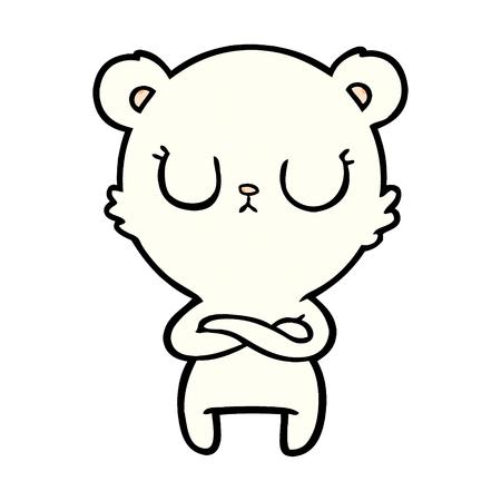 Hand drawn peaceful cartoon polar bear