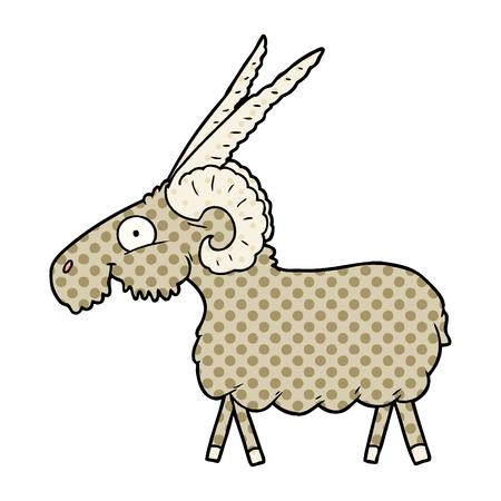 Hand drawn cartoon goat Illustration