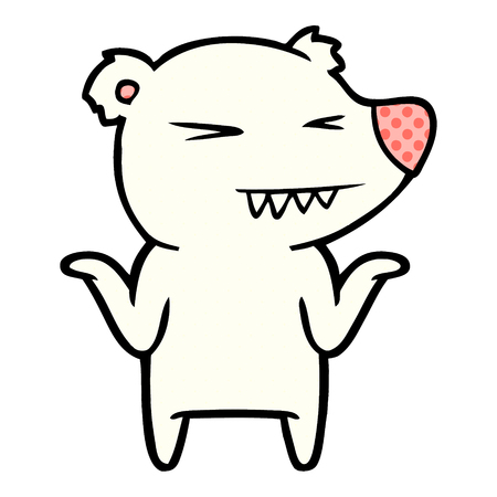 Ours polaire en colère dessiné à la main, haussant les épaules Banque d'images - 95641105