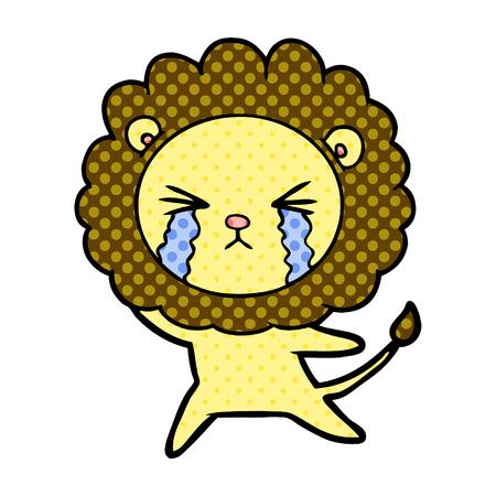 Hand drawn cartoon crying lion