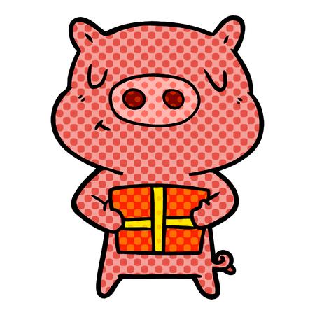 Cartoon Christmas pig isolated on white background Illustration