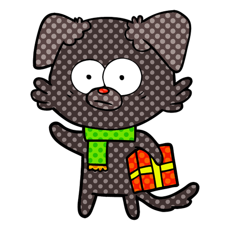 Isolated vector on white background, nervous dog cartoon with gift
