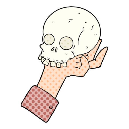 Hand drawn cartoon hand holding skull