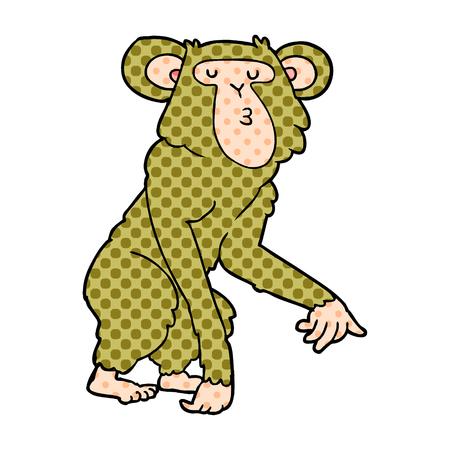 Cartoon chimpanzee isolated on white background