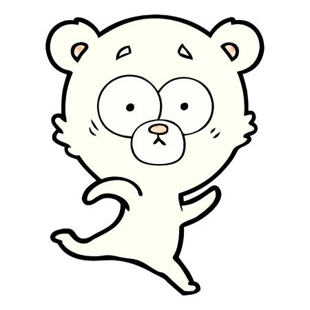 Hand drawn surprised polar bear cartoon