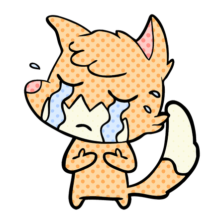 Hand drawn crying fox cartoon Stok Fotoğraf - 95641420