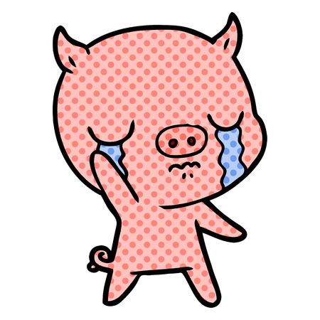 Hand drawn cartoon pig crying waving goodbye