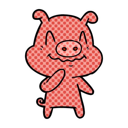 Hand drawn nervous cartoon pig Illusztráció