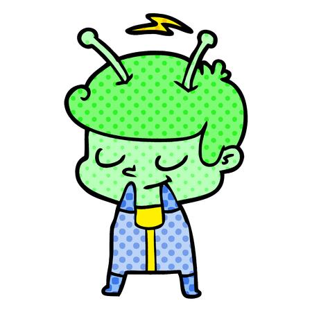 손으로 그린 자기 의식 만화 우주인 스톡 콘텐츠 - 95641524