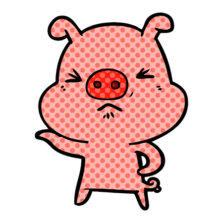 Isolated vector on white background, cartoon angry pig