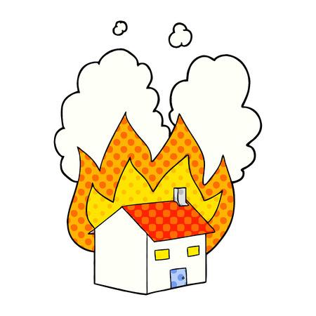 Hand drawn cartoon burning house