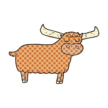Hand drawn cartoon bull