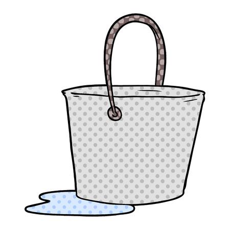 Hand drawn cartoon bucket of water Stock Illustratie