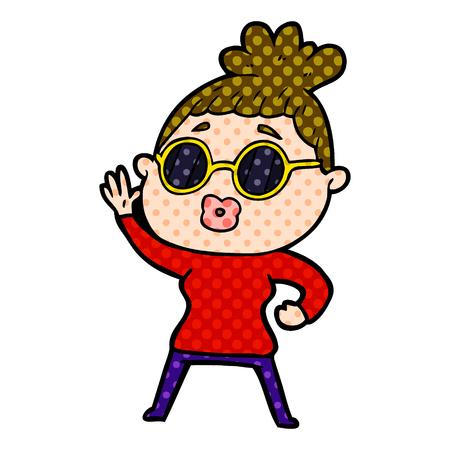 Hand drawn cartoon waving woman wearing sunglasses